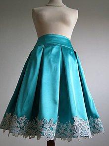 Sukne - tyrkysová sukňa s ozdobným lemom  - 8198266_