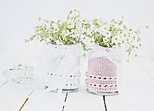 Dekorácie - Svadobná vázička biela/ružová - 8200163_