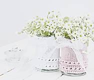 Dekorácie - Svadobná vázička biela/ružová - 8200164_