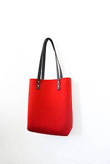 Kabelky - Purity... deep red... 100% prírodná... Merino & koža - 8200122_