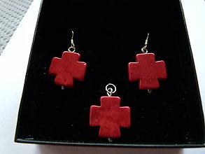 Sady šperkov - Červené krížiky (minerály) - 8201792_