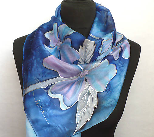 Modrá romantika. Hedvábná šála.   jena.silk - SAShE.sk - Handmade Šály d0723b416b