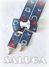 Folklórny pánsky modrý - biely motýlik a traky - folkový - ľudový