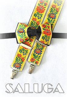Doplnky - Folklórny pánsky čierny - žltý motýlik a traky - folkový - ľudový - 8202266_