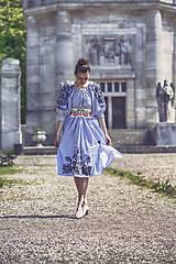 Šaty - Prúžkované, bavlnené s rukávcami - 8201560_