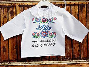 Detské oblečenie - Folk košielka do krstu - 8202164_
