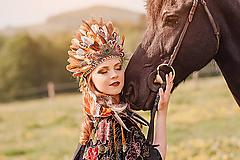 Ozdoby do vlasov - Prírodná hnedá pierková čelenka - 8202168_