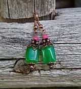 - Svieži zelený jadeit s ružovou - náušnice - 8202555_