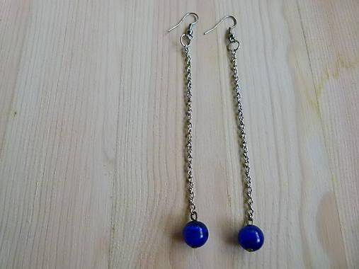 Dlhé modré náušnice