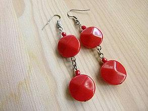 Náušnice - Červené kruhy - 8204143_