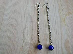 Náušnice - Dlhé modré náušnice - 8204276_
