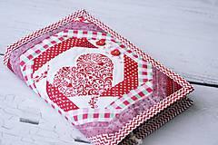 Papiernictvo - Obal na knihu / diár červený srdiečkový - 8205057_