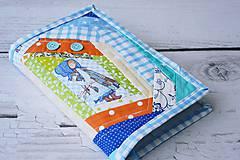 Papiernictvo - Obal na knihu / diár modrý s dievčatkom 2. - 8205167_