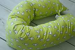 Textil - Tehotenský vankúš / Vankúš na dojčenie zelený s ovečkami - 8205225_