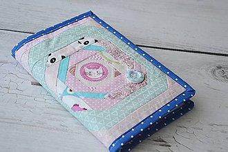 Papiernictvo - Obal na knihu / diár ružovo-modrá myška - 8205129_