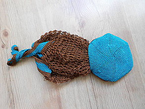 Nákupné tašky - Sieťovka tyrkys v čokoláde - 8204422_