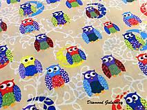 Textil - Bavlnená látka - Sovičky - cena za 10 cm - 8205183_
