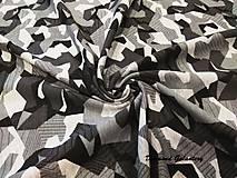 Textil - Úplet Digitálny Maskáč - šedý - cena za 10 cm - 8205405_
