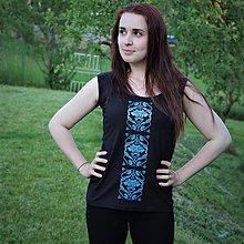 Topy - Dámsky top modrý ornament 2 čierny - 8204567_