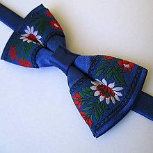 Doplnky - motýlik pánsky FOLK kráľovská modrá - 8203179_