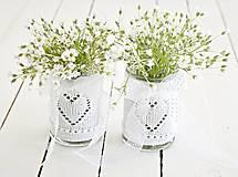 Dekorácie - Svadobná vázička biela so srdiečkom - 8204071_