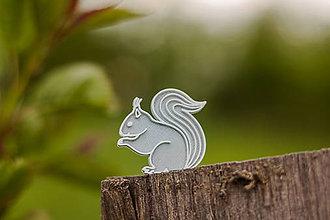 Odznaky/Brošne - Veverička silver/white - 8203332_