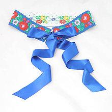 Opasky - Folklorný opasok - modrobílý, vintage - 7cm - 8203250_
