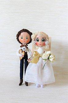 Bábiky - Elegantný svadobný pár - 8207450_