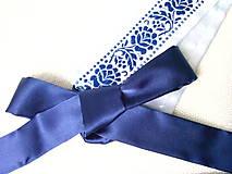 Svadobný folklórny opasok (kráľovsky modrá/biela)