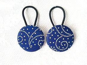 Ozdoby do vlasov - BonBon gumičky – buttonky (blue folklore) - 8208597_