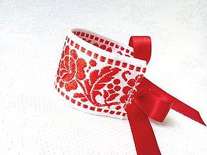 Náramky - Slovak folklore bracelet (red/white) - 8208784_
