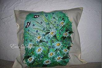 Úžitkový textil - vankúš ručne maľovaný - margaréty a blankytné nebo - 8207585_