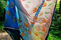 Šatky - hodvábna šatka Zlatisté tulipániky - 8207974_