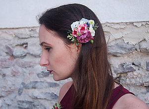 Ozdoby do vlasov - Romantická farebná spona do vlasov - 8209144_