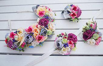 Ozdoby do vlasov - Romantický farebný svadobný set - 8209168_