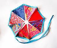Dekorácie - Girlanda farebná s tyrkysovou šnúrkou - 8207416_