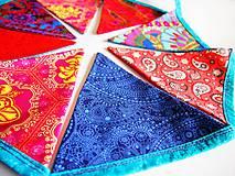 Dekorácie - Girlanda farebná s tyrkysovou šnúrkou - 8207419_