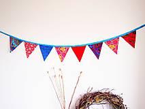 Dekorácie - Girlanda farebná s tyrkysovou šnúrkou - 8207423_