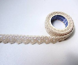 Galantéria - Samolepiaca bavlnená čipka 1,8 m -béžová - 8208109_