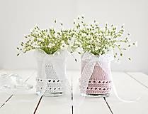 Dekorácie - Svadobná vázička biela/ružová - 8207410_