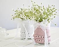 Dekorácie - Svadobná vázička biela/ružová - 8207412_