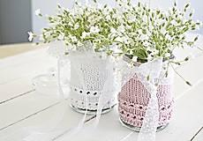 Dekorácie - Svadobná vázička biela/ružová - 8207413_