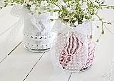 Dekorácie - Svadobná vázička biela/ružová - 8207414_