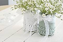 Dekorácie - Svadobná vázička biela/mätová - 8207462_