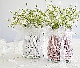 Dekorácie - Svadobná vázička biela/ružová - 8207411_