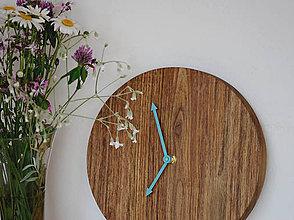 Hodiny - okrúhle hodiny/tyrkysové ručičky - 8208094_