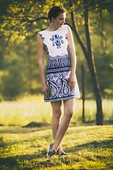 Šaty - Modrotlač krátke - 8205868_