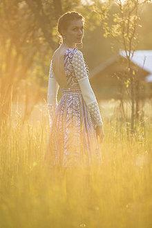 Šaty - Modrotlač dlhý rukáv - 8205892_