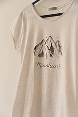 Tričká - Ručne kreslené tričko s horami - 8206585_