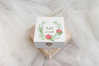 Prstene - Svadobná krabička jemná červeň/ k oznámeniu - 8207630_